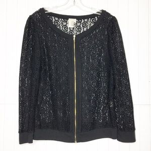 Anthropologie | Zip Up Lace Cardigan